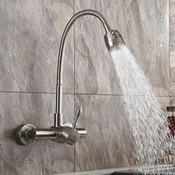 Brushed Nickel Wall Mount Stainless Steel Kitchen Faucet with Dual Function Sprayer