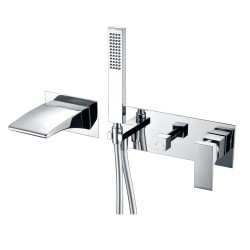 Wall Mount Tub Faucets, Waterfall Tub Filler Spout with Hand Shower