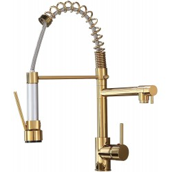 Kitchen Faucets Low Lead Commercial Solid Brass Single Handle Single Lever Pull Down Sprayer Spring Kitchen Sink Faucet Solid Brass,Gold
