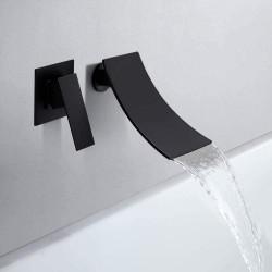 Modern Design Single Handle Wall Mounted Waterfall Bathroom Sink Faucet in Black Finish