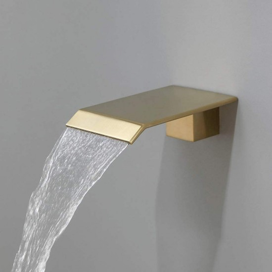 Shower System with Waterfall Brass Tub Spout Shower Faucet Set with Rain Shower Head Wall Mounted Shower Set Brushed Gold,Rough-in Valve and Trim Included (10'')
