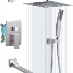 Shower System with Tub Spout, 10 Inch Bathroom Wall Mounted Shower Faucet Set with Rain Shower Head, Contain Shower Faucet Rough-in Mixer Valve,Brushed Nickel