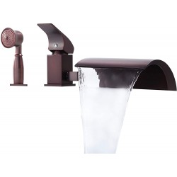 Oil Rubbed Bronze Tub Faucet 3-Hole Deck Mount Waterfall Roman Tub Filler with Handheld Shower(with Diverter)