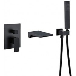 Waterfall Wall Mount Bathtub Faucet with Handshower Bathroom Solid Brass Tub filler Faucet in Matte Black
