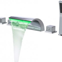 Bathroom Waterfall Bathtub Faucet Set LED Roman Tub Filler with Handheld Shower