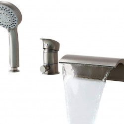 Bathroom Waterfall Roman Tub Filler Faucets Handshower Valve Set Brushed Nickel