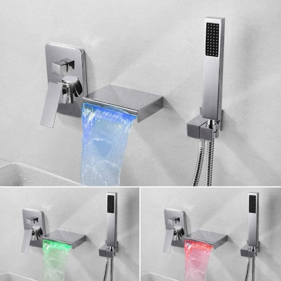 LED Waterfall Bathtub Faucet Wall Mount Luxury Bath Tubs Spout Taps with Handheld Shower Included Shower Mixer Valve, Matte Black Finished