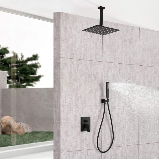 LED Rain Shower System with 12-Inch Rainfall Shower Bathroom Single Handle Shower Combo with Valve Set Ceiling Mount , Matte Black