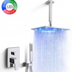 LED Rainfall Shower Faucet Luxury Mixer Shower Combo Set 3 Colors Changing 12 Inchs LED Rain Shower System Ceiling Mount , Polished Chrome Finished