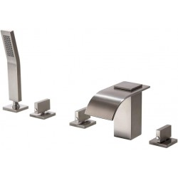 Solid Brass 5-Hole Waterfall Deck Mount Bathroom Roman Tub Faucet Brushed Nickel