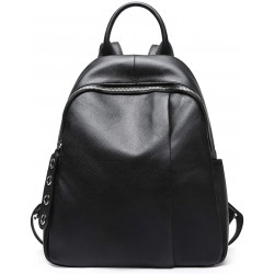 Womens Leather Black Backpack Casual Travel Ladies Daypack Multipurpose Fashion Bag (Black)