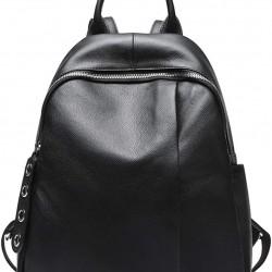Womens Leather Black Backpack Casual Travel Ladies Daypack Multipurpose Fashion Bag (Black)