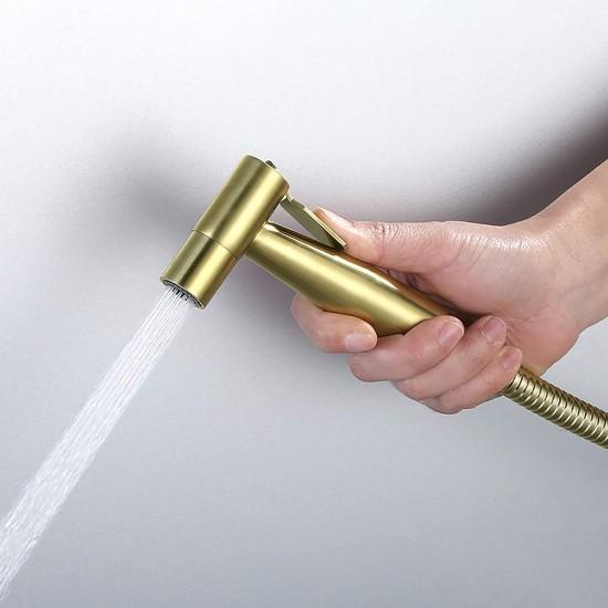 Cloth Diaper Sprayer Kit Brass Single Cold Handheld Bidet Sprayer Toilet Kit Brushed Gold Toilet Sprayer Wall Mounted Bathroom Washroom Set with Stainless Steel Hose