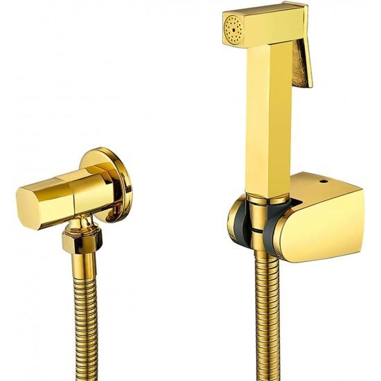 Handheld Bidet Sprayer, Douche Toilet Kit, Shiny Gold Brass Square Shattaf Shower Head Copper Valve Set Jet Bidet Faucet