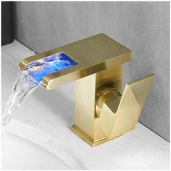 LED Basin Faucet Square Single Handle Brass Waterfall Basin Faucet Sink Tap with Cold and Hot Water, Deck Mounted Bathroom Vanity Faucets,Brushed Gold