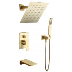 10 Inch Rain Shower System Brushed Gold Wall Mounted Shower Combo 3-Function Shower Faucet Set with Square Shower Head & Handheld Shower & Waterfall Tub Spout