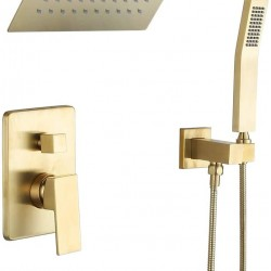 Bathtub Shower System with Tub Faucet set Brusehd Gold Shower Fixture with Pressured Balance Valve10'' Rain Shower Head Waterfall Tub Spout(Brusehd Gold-10 Inch)