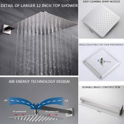 """Full Body Spary Shower System, Massage Jets and Tub Spout 12"""" Wall Mounted Rain Showerhead and Hand Shower Included, Brushed Nickel (Contain Rough In Pressure Balance Valve)"""