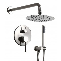 """Wall-Mount High-Pressure 12"""" Round Rainfall Shower Head Handheld Shower Faucet Set Brushed Nickel Dual Function Rain Shower Combo Set with Valve Body and Trim cUPC Certified, Solid Brass"""