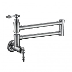 Pot Filler, Solid Brass Pot Filler Faucet, Commercial Kitchen Sink Pot Filler Faucet Wall Mount, Folding Stretchable Double Joints Swing Arm Two Handle Pot Filler Faucet,Chrome