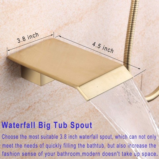 Waterfall Tub and Shower Faucet with Handheld 10 inches Rain Shower Fixtures Rough-in Valve Included Brass Shower System Brushed Gold