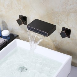Waterfall Oil-rubbed Bronze Bathroom Sink Faucet ORB Bathtub Faucets Wall Mounted Two Handles Three Holes Lavatory Mixer Taps,Ceramic Valve