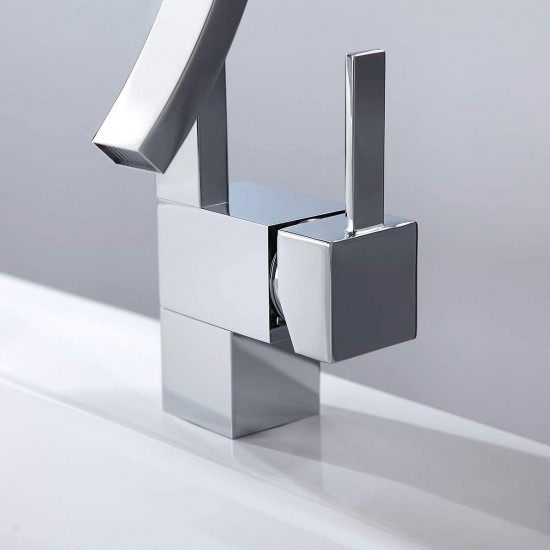 Modern Creative Design Single Lever Handle 1-Hole Bathroom Sink Faucet with Waterfall Spout (Chrome)