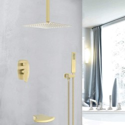Brushed Gold Shower System Waterfall Tub Spout Faucet Set With 12 Inch Ceiling Mounted Rainfall Shower Head Shower Set