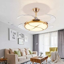 42 inch Modern Invisible Ceiling Fans LED Chandelier-Adjustable Three-Color Lighting Three-Speed Ceiling Fan Light For Room Bedroom Chandelier with Remote Control