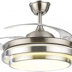 36Inch Modern Ceiling Light with Fans Remote Control Retractable Blades for Living Room Bedroom Restaurant, Silver Color with Silent Motor