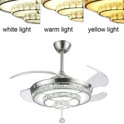 Crystal Pendant Light Ceiling Fans,Modern LED Ceiling Fans Light with 4-Blades Retractable for Dining Room/Bedroom 42 inch (Sliver)