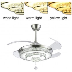 Crystal Pendant Light Ceiling Fans,Modern LED Ceiling Fans Light with 4-Blades Retractable for Dining Room/Bedroom 42 inch (Sliver)