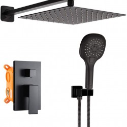 Matte Black Shower System Bathroom Luxury Rain Mixer Shower Faucet Set with Handheld Shower Wall Mounted 10 Inch Shower Head and Handle Set Single Handle Shower Trim Kit with Rough-in Valve Body