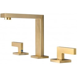 Commercial Bathroom Sink Faucet 3 Hole Two Handle Widespread Lavatory Faucets Deck Mount Basin Mixer Tap Faucet (Brushed Gold)