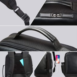 Business 15.6 inch Laptop Backpack Convertible Increase Compartment Anti-Theft Laptop Rucksack USB Charging and Water Resistant College Multi-Functional Travel Men Backpack Black