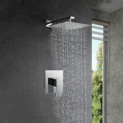 Shower Faucet Set Rainfall Head Brass Mixer Basin Value Set Wall Mount Chrome