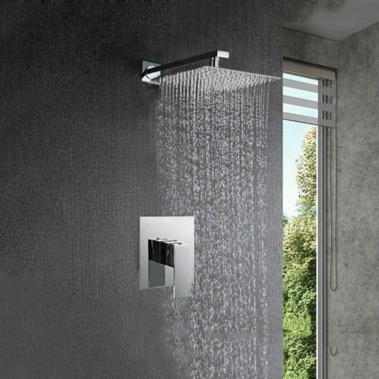 Shower Faucet Set Rainfall Head Brass Mixer Basin Value Set Wall Mount Chrome