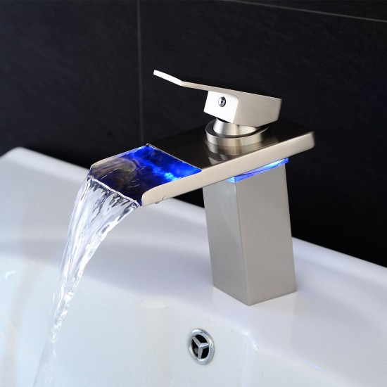 Stylish Single Handle Nickel Brushed LED Waterfall Bathroom Sink Faucet LED Colors Changing Tap Temperature Control Light