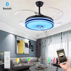 Retractable ceiling fan with light and Bluetooth speaker RGB color Changing 36W 49.2In Black ceiling fan with remote control