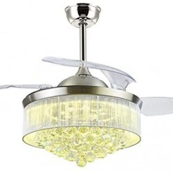 Crystal Ceiling Fans 42 Inch Ceiling Fans with Lights 3 Color Setting LED Light Retractable Invisible Blades for Dining Room Bedroom Chandelier Ceiling Fan