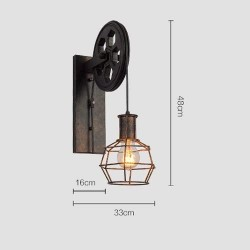Vintage Creative Lifting Pulley Hollow Wall Lights American Retro Industrial Wrought Metal Iron Wall Lamps Bar Cafe Restaurant Aisle Home Decorative Wall Sconce