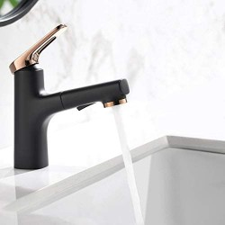 Single Handle One Hole Black & Rose Gold Bathroom Sink Faucet with Pullout Sprayer