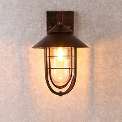 Industrial 1-Light Metal Cage Clear Glass Shaded Nautical Indoor Outdoor Wall Light in Antique Copper