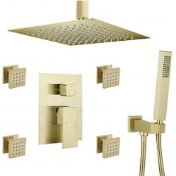 """Shower System Bathroom Ceiling Brass Faucet Set with 12"""" Rain Shower Head Set and Body Jets, Brushed Gold"""