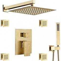 Bathroom Massage Body Spray Shower System 12-inch Rainfall Showerhead with Handheld Shower, Brushed Gold