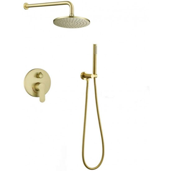 10-inch Round Rain Shower Head with Handheld 2-way Mixer Shower System Brushed Gold, Rough-in Valve Body and Trim Included
