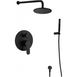 Black Shower Faucet System, 10-inch Round Rainfall Showerhead 2-way Mixer Kit with Handheld Matte Black Shower Fixtures