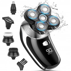 Electric Razor For Men Bald Men Shaver Beard Trimmer 5 In 1 Grooming Kit Rotary Shaver Waterproof Electric Shaver Razor LED Display Rechargeable