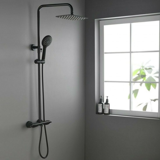 Black Exposed Shower System Wall Mount Rainfall Head Thermostatic Shower Faucet