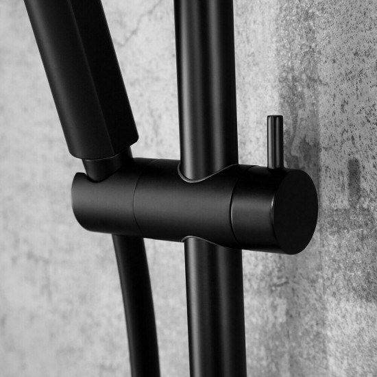Matte Black Exposed Rainfall Thermostatic Shower System with Waterfall Tub Spout